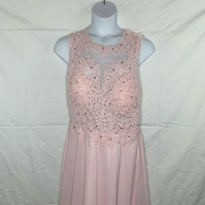 Plus size  Pink Backless Prom Dress